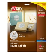 "Avery® Embossed Round Labels 22824, Matte Silver Foil, 2"" Diameter, Pack of 96"