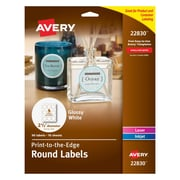"Avery® 22830 Print-to-the-Edge White Round Labels, Glossy, 2-1/2"" Diameter, 90/Pack"