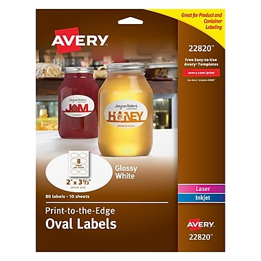 Avery® 22820 Print-to-the-Edge White Oval Labels, Glossy, 2