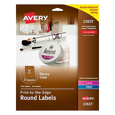 Avery® 22825 Print-to-the-Edge Clear Round Labels, Glossy, 2
