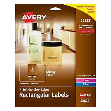 Avery® 22822 Print-to-the-Edge Clear Rectangular Labels, Glossy, 2