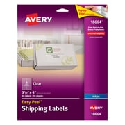 "Avery® 18664 Clear Inkjet Shipping Labels with Easy Peel®, 3-1/3"" X 4"", 60/Box"