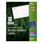 "Avery® 48467 EcoFriendly White Inkjet/Laser Return Address Labels 1/2"" x 1-3/4"", 8,000/Box"