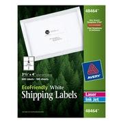"Avery® 48464 EcoFriendly White Inkjet/Laser Shipping Labels, 3-1/3"" x 4"", 600/Box"