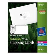 "Avery® 48163 EcoFriendly White Inkjet/Laser Shipping Labels, 2"" x 4"", 1,000/Box"