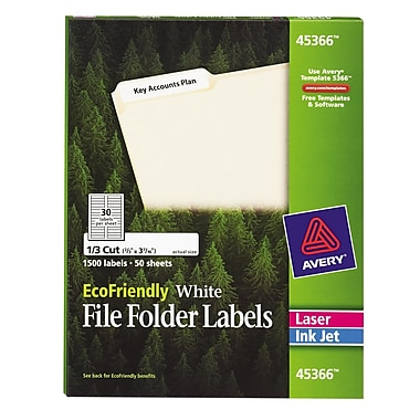Avery® 45366 EcoFriendly White File Folder Labels, 1,500/Pack
