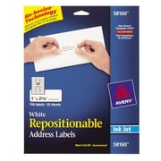 "Avery® 58160 Repositionable White Inkjet Address Labels 1"" x 2-5/8"", 750/Box"