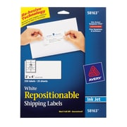 "Avery® 58163 Repositionable White Inkjet Shipping Labels 2"" x  4"", 250/Box"