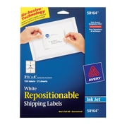 """Avery® 58164 Repositionable White Inkjet Shipping Labels 3-1/3"""" x 4"""", 150/Box"""
