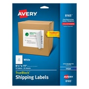 "Avery® 8165 White Inkjet Full Sheet Shipping Labels with TrueBlock™, 8-1/2"" x 11"", 25/Box"