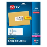 "Avery® White Laser Shipping Labels with TrueBlock, 2"" x 4"", 250/Box (5263)"