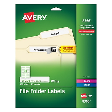 Avery Permanent File Folder Labels with TrueBlock, White, 750/Pack (8366)
