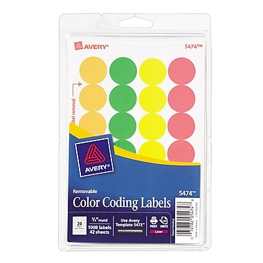Avery® AVE05474 Assorted Removable Print Color Coding Label, Assorted, 1008/Pack