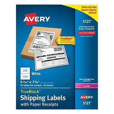 Avery® 5127 White Laser Shipping Labels with Paper Receipt, 5-1/16