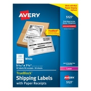 "Avery® 5127 White Laser Shipping Labels with Paper Receipt, 5-1/16"" x 7-5/8"", 50/Box"
