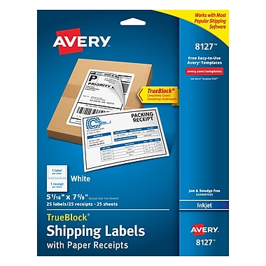 Avery® 8127 White Inkjet Shipping Labels with Paper Receipt, 5-1/16