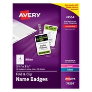 "Avery® Fold & Clip Badges, 2 1/4"" x 3 1/2"", 40/Pack"