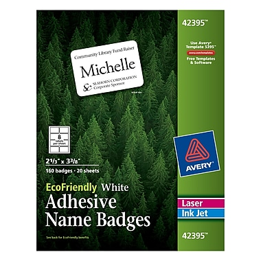 Avery® EcoFriendly White Multipurpose Name Tag Labels, 2 1/3