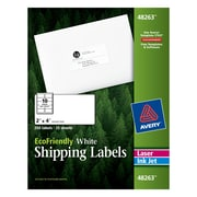 "Avery® 48263 EcoFriendly White Inkjet/Laser Shipping Labels, 2"" x 4"", 250/Box"