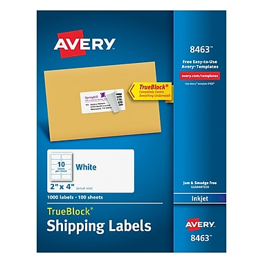 Avery® 8463 White Inkjet Shipping Labels with TrueBlock™, 2