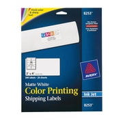 "Avery® 8253 Color Printing Matte White Inkjet Shipping Labels, 2"" x 4"", 200/Box"