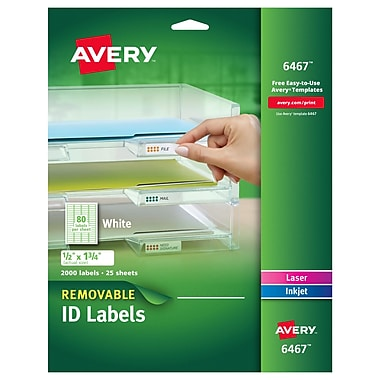 Avery® 6467 Removable Inkjet/Laser Labels, 1/2