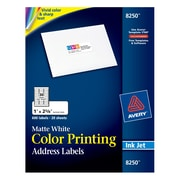 "Avery® 8250 Color Printing Matte White Inkjet Address Labels, 1"" x 2-5/8"", 600/Box"