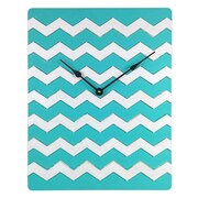 Cray Cray Supply Weathered Teal & White Chevron Pattern Clock Large (CRYC099)