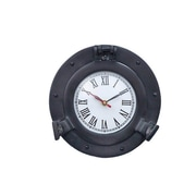 Handcrafted Decor  Oil Rubbed Bronze Deluxe Class Porthole Clock, 8 in. (HDFM2859)