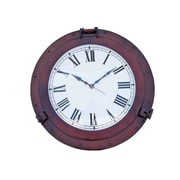Handcrafted Decor  Antique Copper Decorative Ship Porthole Clock, 24 in. (HDFM3311)