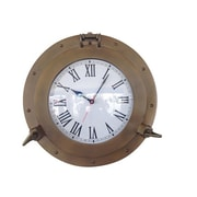 Handcrafted Decor  Antique Brass Decorative Ship Porthole Clock, 15 in. (HDFM3318)