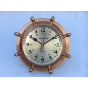 Handcrafted Decor  Antique Brass Double Dial Porthole Wheel Clock, 8 in. (HDFM3384)