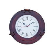 Handcrafted Decor  Antique Copper Deluxe Class Porthole Clock, 12 in. (HDFM3584)