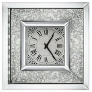 A&B Home  16 x 16 in. Astrid Wall Clock, Mirrored Frame, Silver Plus Light Antique (ABHM002)