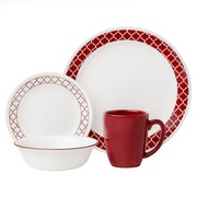 Corelle Livingware Crimson Trellis 16 Piece Dinnerware Set