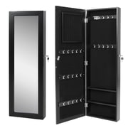 OneBigOutlet Wall Mounted Jewelry Armoire with Mirror; Black