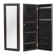 OneBigOutlet Wall Mounted Jewelry Armoire with Mirror; Brown