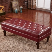 Corzano Designs Premium Faux Leather Entryway Bench; Burgundy Red
