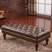 Corzano Designs Premium Faux Leather Entryway Bench; Dark Brown