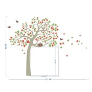 Pop Decors Cute Tree and Birds Wall Decal; Grey, Green and Red