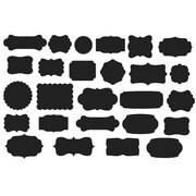Pop Decors 26 Piece Re-writable Labels Chalkboard Wall Decal Set; Black