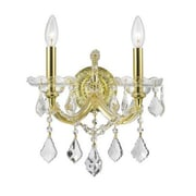 StarrySkyTradingInc. 2 Light Clear Crystal Candle Wall Sconce; Gold