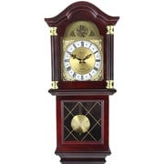 Bedford Clock Classic Chiming Wall Clock with Swinging Pendulum; Mahogany Cherry Oak