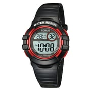 Lorus R2379H Digital Alarm Chronograph Black with Red Accents, 33mm Watch