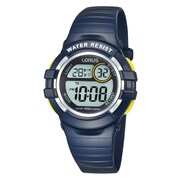 Lorus R2381H Digital Alarm Chronograph Blue with Yellow Accents, 33mm Watch