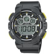 Lorus R2339J Digital Alarm Chronograph Black with Yellow Accents, 50mm Watch
