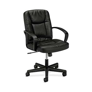 basyx by HON HVL171 High-Back Chair, Fixed Arms, Black SofThread Leather