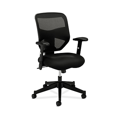 basyx by HON HVL531 HON Mesh Back Chair, Center-Tilt, Adjustable Arms, Black Mesh Sandwich Seat