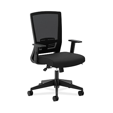 basyx by HON® HVL541 Mesh High-Back Task Chair, Center-Tilt, Adjustable Lumbar, Adjustable Arms, Black Fabric