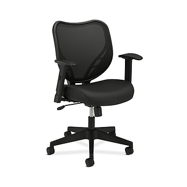 basyx by HON HVL551 HON Mesh Back Chair, Center-Tilt, Adjustable Arms, Black Fabric Seat